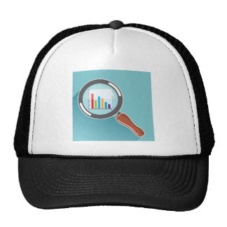 Bar Graph in Magnifying Glass Trucker Hat