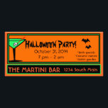 """Bar Halloween Party Rack Card<br><div class=""""desc"""">A perfect invitation or flyer for a &quot;Halloween Party&quot; bash. Black, green and orange colors with a green martini glass with skeleton. Black bats add a fun touch. A cool Halloween party invitation at a budget price. Great for home Halloween party or &quot;Bar Halloween Party&quot;. Invite your customers to your...</div>"""