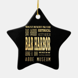 Bar Harbor City of Maine Typography Art Ceramic Ornament