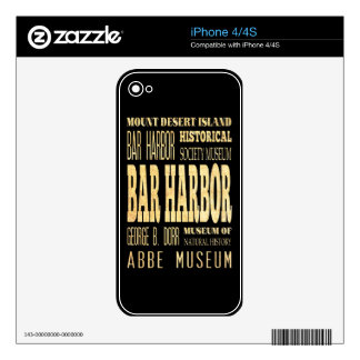 Bar Harbor City of Maine Typography Art Skins For iPhone 4