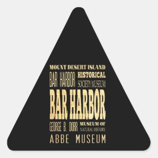 Bar Harbor City of Maine Typography Art Triangle Sticker