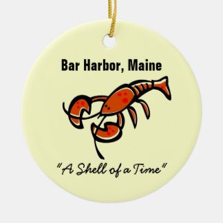 Bar Harbor, Maine Lobster Double-Sided Ceramic Round Christmas Ornament