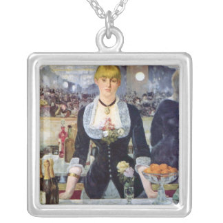 Bar in the Folies-Bergere by Edouard Manet Silver Plated Necklace