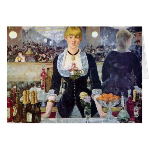 Bar In The Folies-Bergere by Manet Painting Card