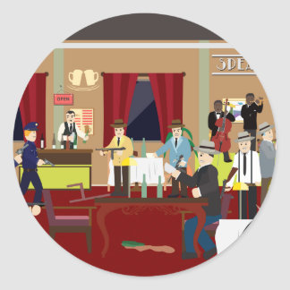 Bar los E.E.U.U. (historia simple) de los años 20 Pegatina Redonda