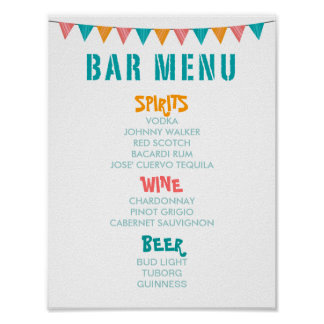 BAR MENU Fiest style wedding and party reception Poster