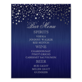 Bar Menu for A Wedding Poster