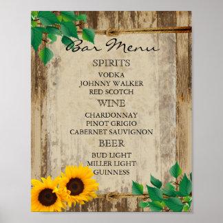 Bar Menu for A Wedding - Sunflower Poster
