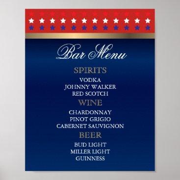 Bar Menu - Patriotic American Wedding Poster