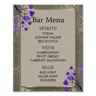 Bar Menu -  Purple Floral & Antique Silver Damask Poster