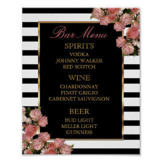 Bar Menu -  Rose Gold and Stripe Wedding Poster