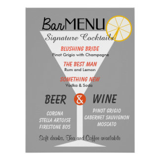 Bar menu sign editable color cocktail glass poster