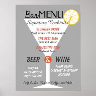 Bar menu sign editable color cocktail glass poster