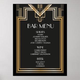 BAR MENU sign | Great Gatsby inspired wedding