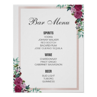 BAR MENU sign | watercolor floral | wedding bar