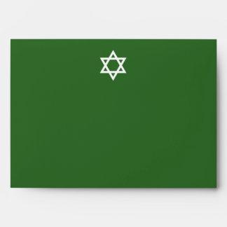Bar Mitzvah 5 x 7 Green Envelope