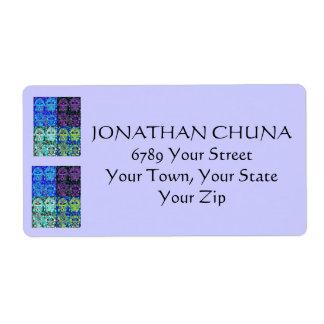 Bar Mitzvah Address Label : Indigo-Blue Hamsa