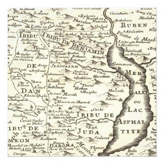 Bar Mitzvah Antique Map, Tribes of Israel Custom Invites