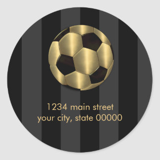 Bar Mitzvah Any Color Stripe Gold Soccer Ball Sticker