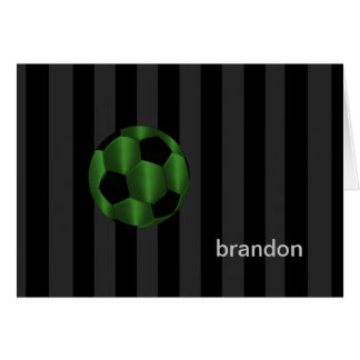 Bar Mitzvah Any Color Stripe Green Soccer Ball Greeting Card