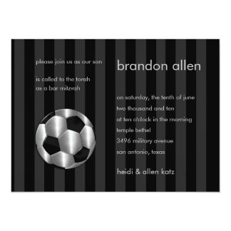 Bar Mitzvah Any Color Stripe Silver Soccer Ball Announcement