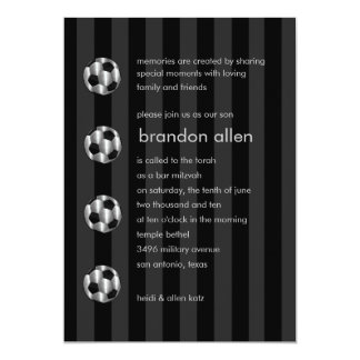 Bar Mitzvah Any Color Stripe Silver Soccer Ball Personalized Invitations