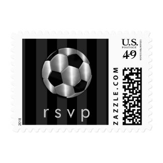 Bar Mitzvah Any Color Stripe Silver Soccer Ball Postage