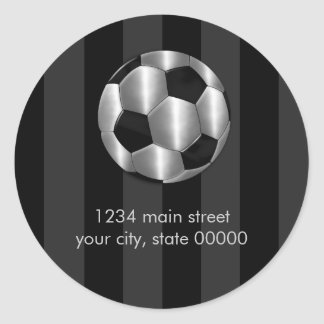 Bar Mitzvah Any Color Stripe Silver Soccer Ball Stickers