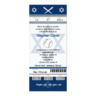 Bar Mitzvah Baseball Ticket Invitation