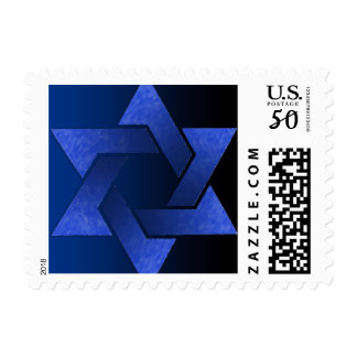 Bar Mitzvah Black and Blue Star of David Postage