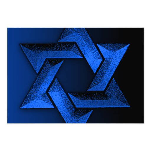 Bar Mitzvah Black and Blue Star of David RSVP Invite
