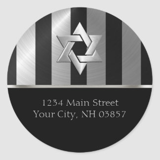 Bar Mitzvah Black and Silver Stripe Star of David Stickers