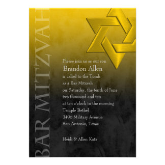 Bar Mitzvah Black and Yellow Grunge Personalized Announcements