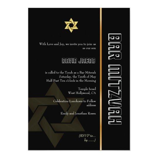 Bar Mitzvah/black/gold Card