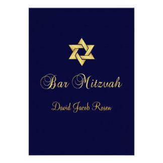Bar Mitzvah/black/gold/diy background color Custom Invite