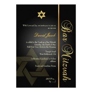 Bar Mitzvah/black/gold Custom Announcement