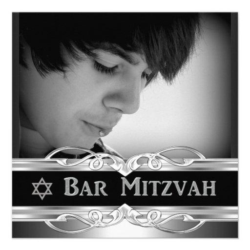 Bar Mitzvah Black Silver Metal male 2 Custom Invite