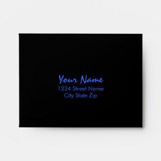 Bar Mitzvah Blue and Black Horizontal Stripe Envelope