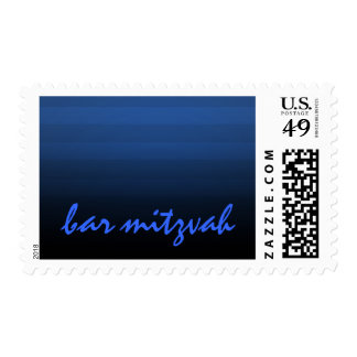 Bar Mitzvah Blue and Black Horizontal Stripe Postage