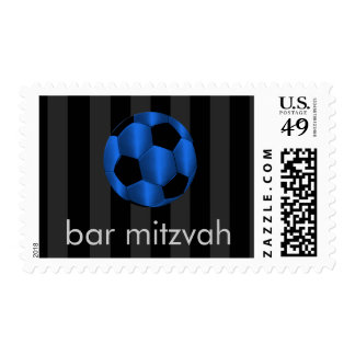 Bar Mitzvah Blue and Black Soccer Ball Postage
