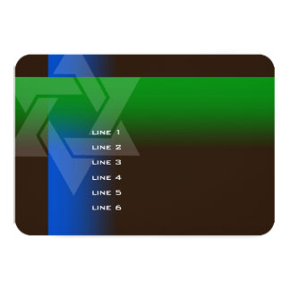 Bar Mitzvah Blue and Green on Any Color 3.5x5 Paper Invitation Card
