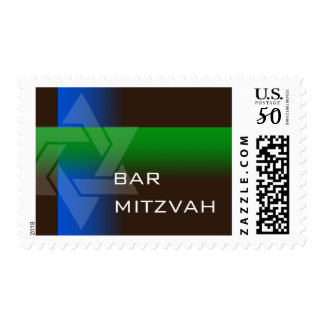 Bar Mitzvah Blue and Green on Any Color Postage