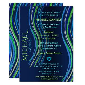 Bar Mitzvah Blue and Green Prayer Shawl Card