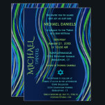 """Bar Mitzvah Blue and Green Prayer Shawl Invitation<br><div class=""""desc"""">Customize this Bar Mitzvah invitation with a colorful prayer shawl in blue and green colors. You can change the background color,  font,  text color,  add graphics,  delete graphics and more to make the perfect invitation for your special event.</div>"""