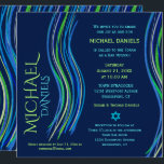 "Bar Mitzvah Blue and Green Prayer Shawl Invitation<br><div class=""desc"">Customize this Bar Mitzvah invitation with a colorful prayer shawl in blue and green colors. You can change the background color,  font,  text color,  add graphics,  delete graphics and more to make the perfect invitation for your special event.</div>"