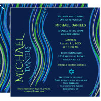Bar Mitzvah Blue and Green Prayer Shawl Invitation