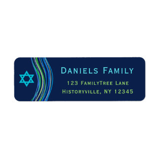 Bar Mitzvah Blue and Green Prayer Shawl Label