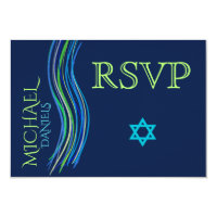 Bar Mitzvah Blue and Green Prayer Shawl RSVP Card