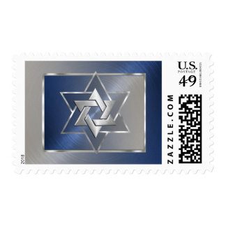 Bar Mitzvah Blue and Silver Star of David Stamp