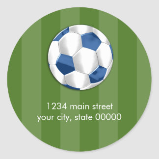 Bar Mitzvah Blue and White Soccer Ball Classic Round Sticker